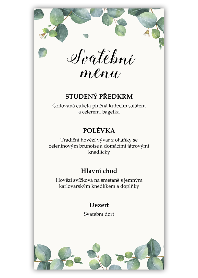Svatební menu - Eukalyptus