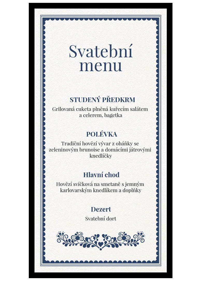 Svatební menu - Folklór