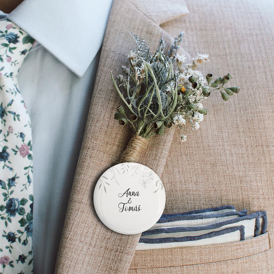 Svatební placka - Leaves 4