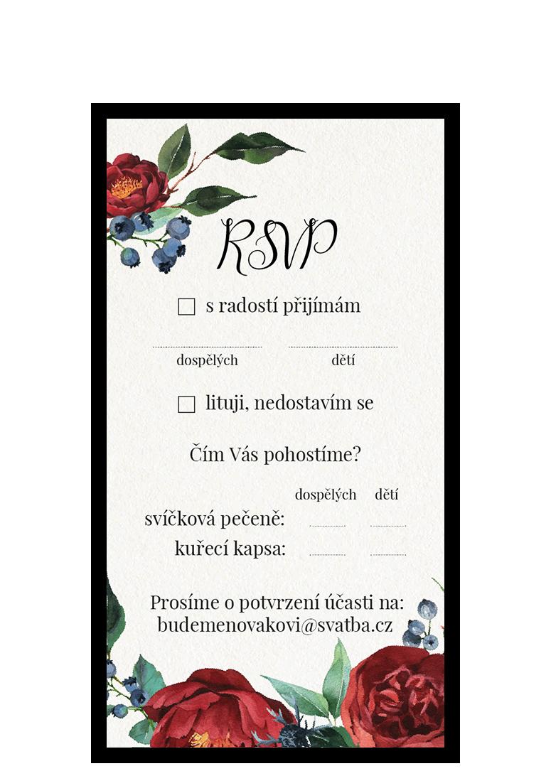 RSVP - odpovědní kartička - Burgundy