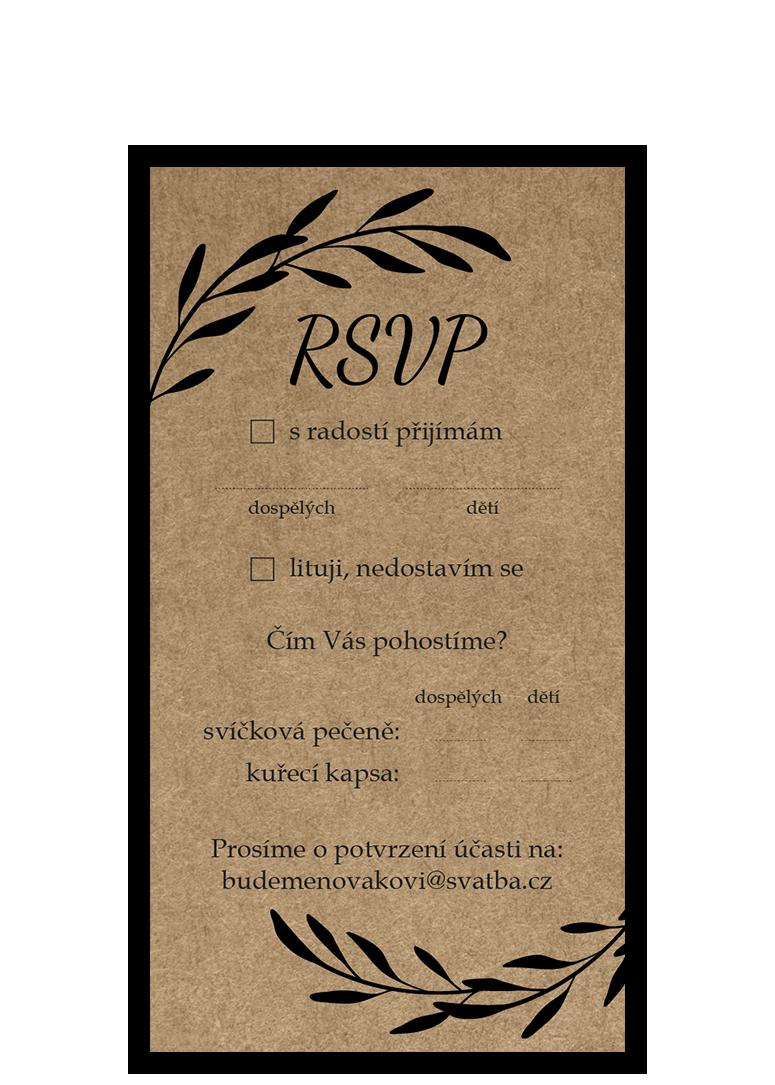 RSVP - odpovědní kartička - Craft