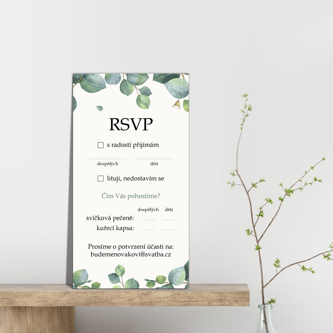 RSVP - odpovědní kartička - Eukalyptus 2
