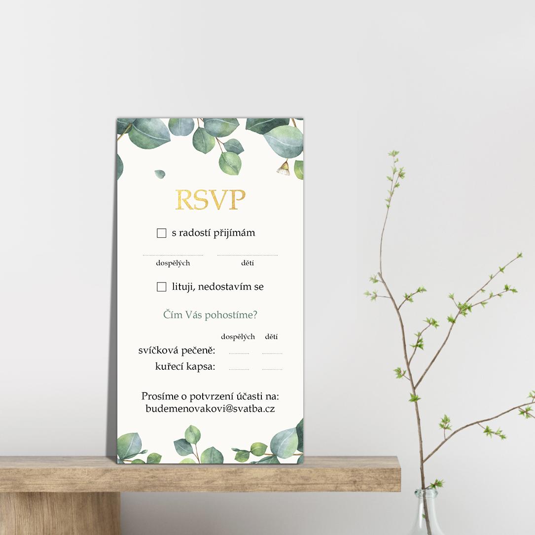 RSVP - odpovědní kartička - Eukalyptus 4