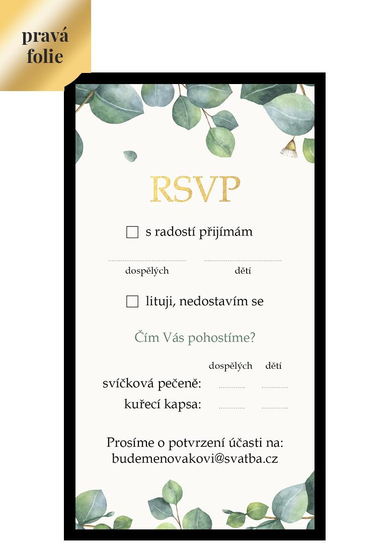 RSVP - odpovědní kartička - Eukalyptus 3