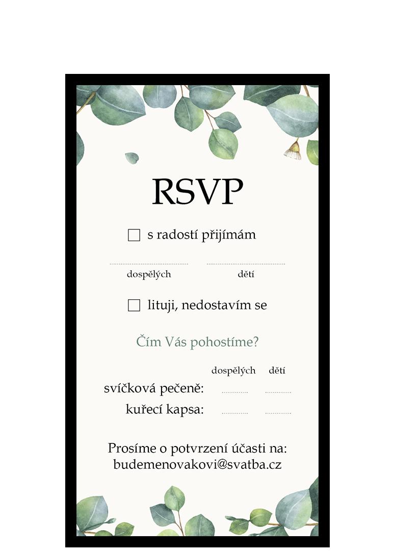 RSVP - odpovědní kartička - Eukalyptus