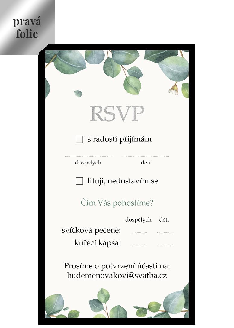 RSVP - odpovědní kartička - Eukalyptus 5