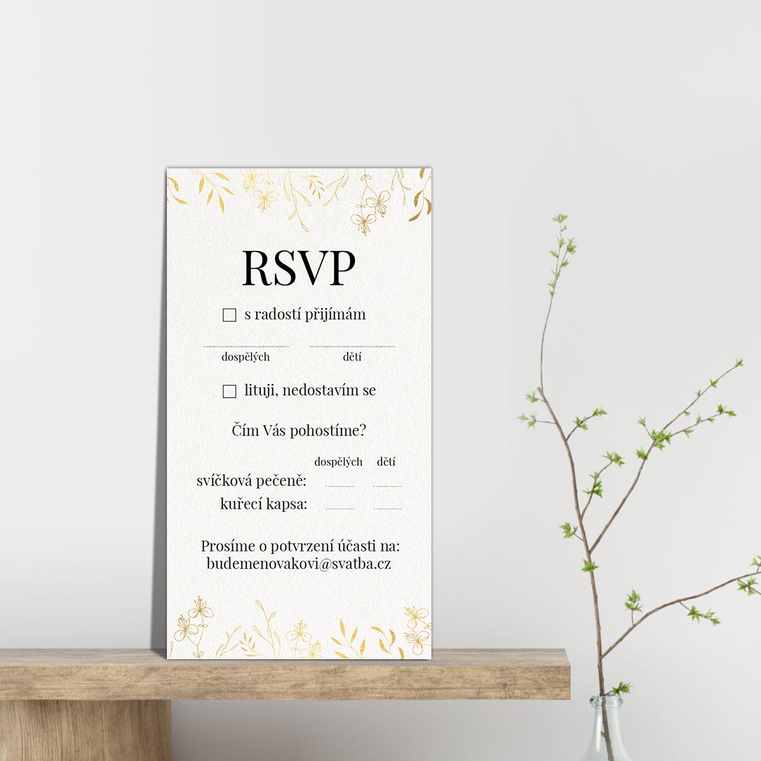 RSVP - odpovědní kartička - Leaves 2