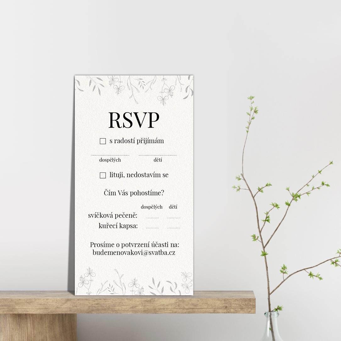 RSVP - odpovědní kartička - Leaves 4
