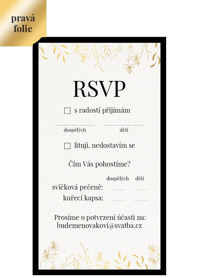 RSVP - odpovědní kartička - Leaves