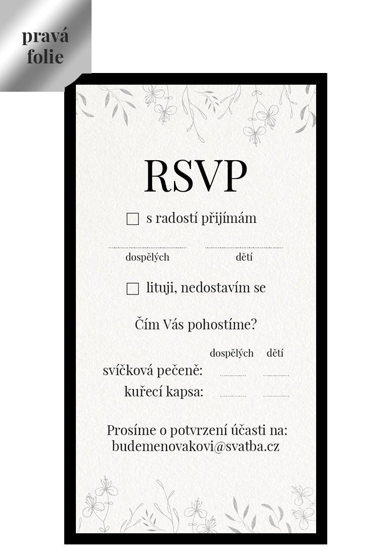 RSVP - odpovědní kartička - Leaves 3