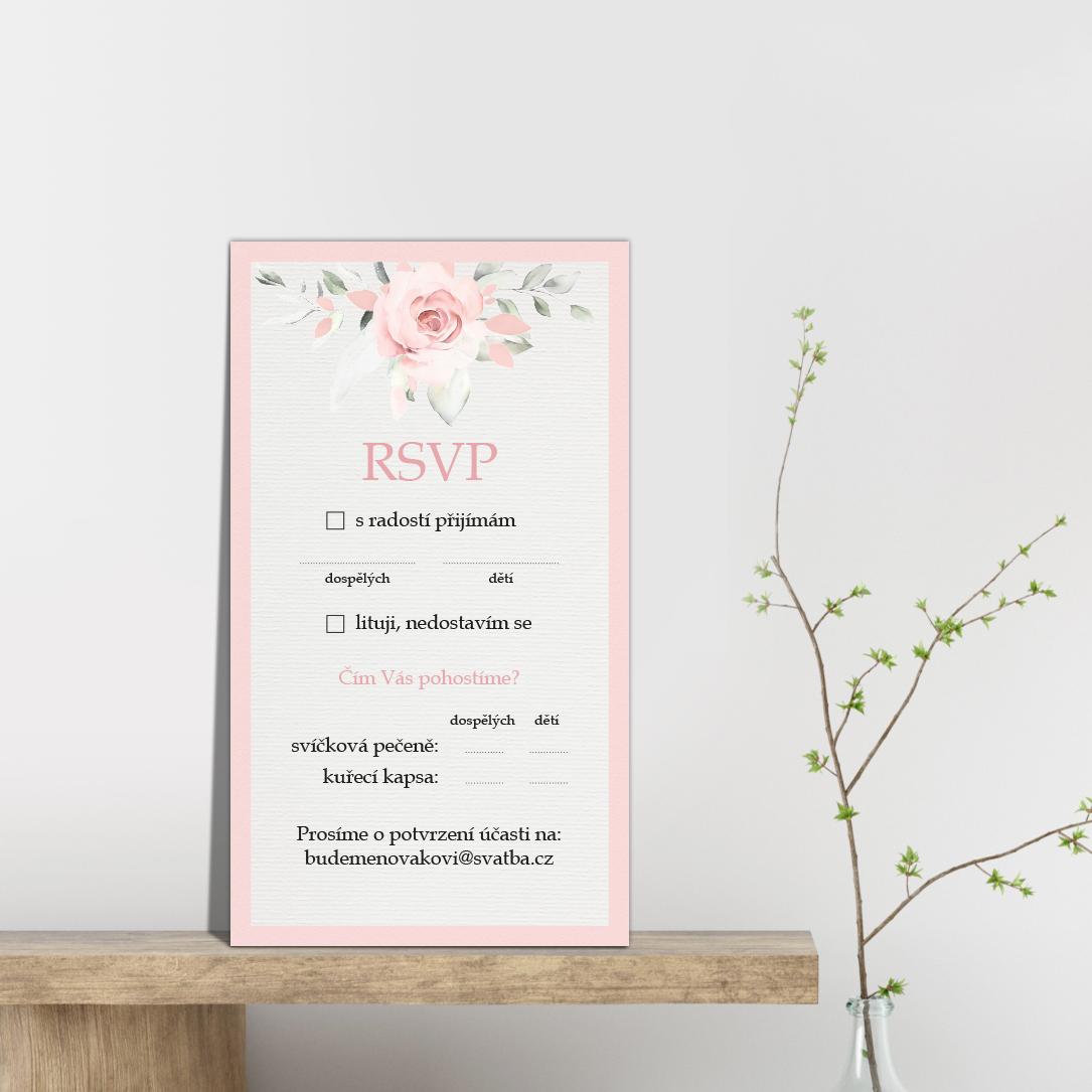 RSVP - odpovědní kartička - Rose 2