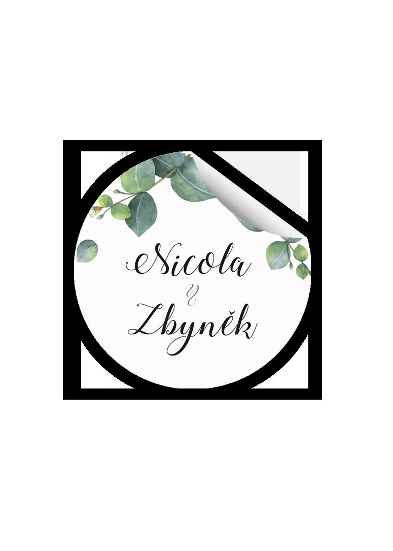 Svatební samolepka - Eukalyptus