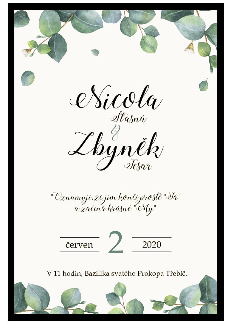 Svatební oznámení - Eukalyptus